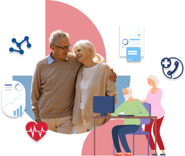 Happy elderly couple walking and on computer together