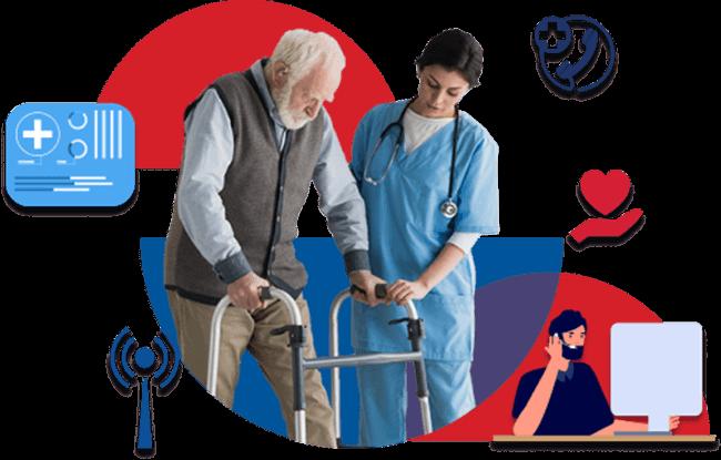 Nurse helping fallen senior with call center on phone
