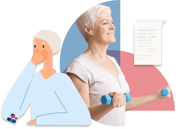 Senior woman taking pills and working out
