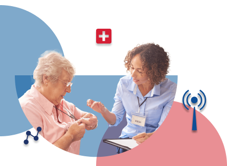 Nurse consulting senior about pers device